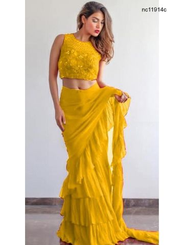 Yellow Georgette Ruffle Frill Border Fancy Saree Online Shopping