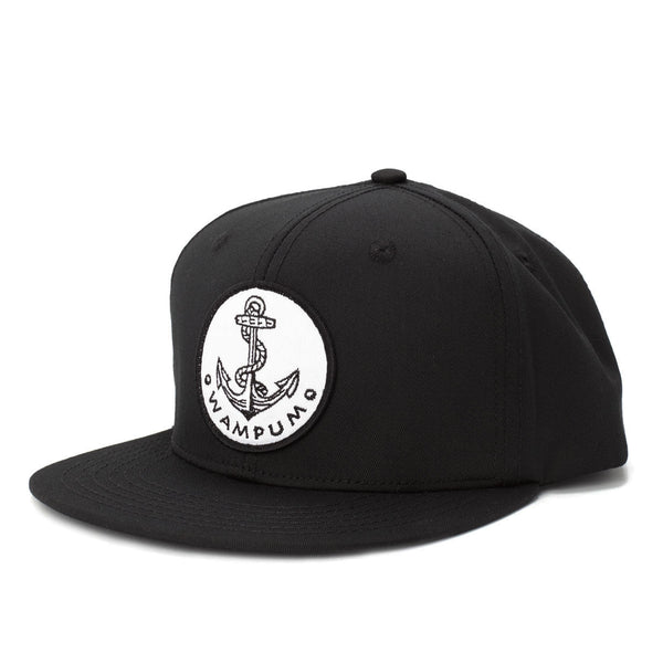 Anchor Snapback Hat Black