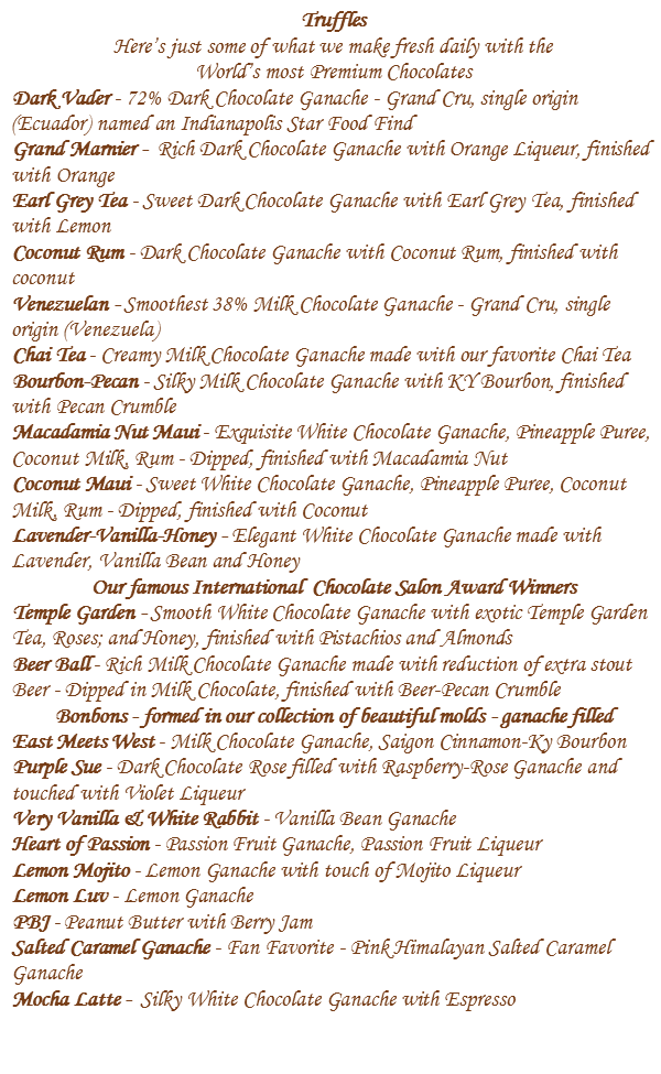 Truffles and Bonbons Described
