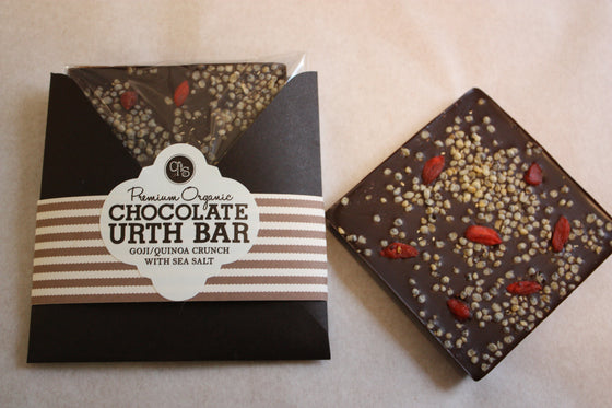 Organic Chocolate Urth Bar - 74% Dark - Goji, Puffed Quinoa, Sea Salt