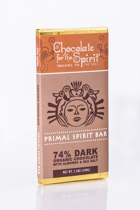 Organic 74% Dark Primal Spirit Bar with Almonds & Sea Salt (Grand Cru, single origin Dominican)