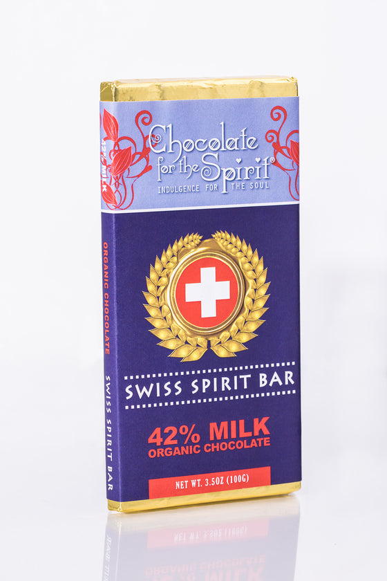 Organic 42% Milk Chocolate Swiss Spirit Bar (Grand Cru, single origin Dominican)
