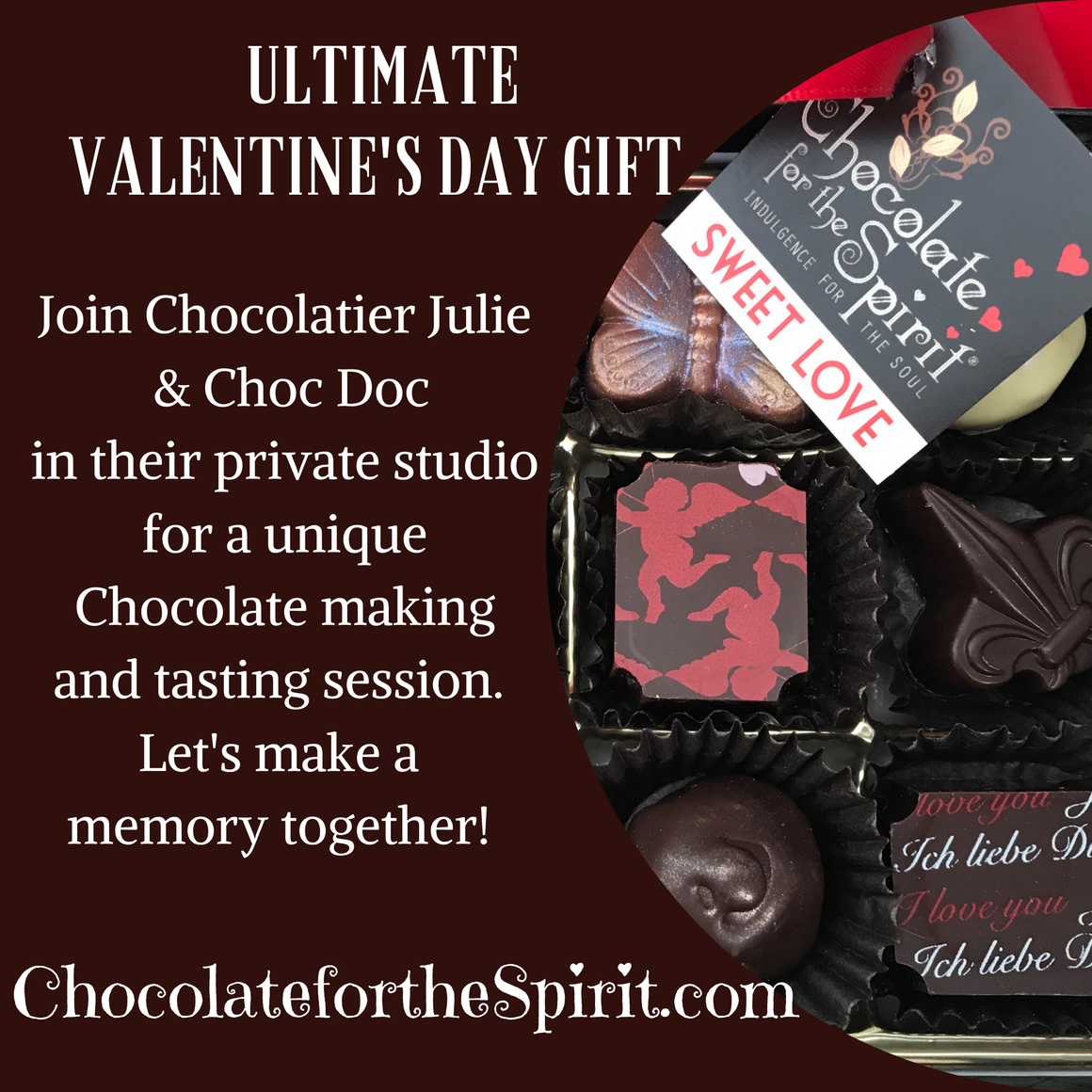 February 14th 7:00pm - 9:30pm- Ultimate Valentine's Day Gift - Chocolate Making and Guided Tasting at our studio in Shelbyville, IN