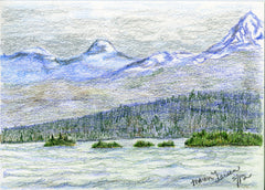 Alaskan Coast - in Colored Pencil