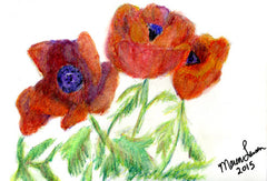 Poppies in Watercolor Pencil