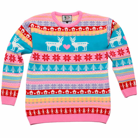 Girls kids pink deer christmas sweater