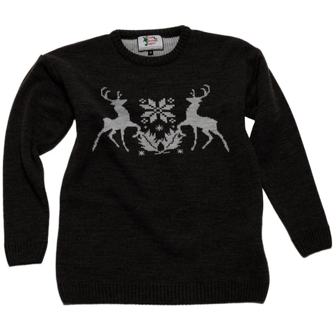 boys black christmas stag pullover