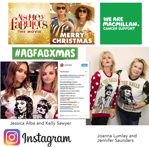 #Abfabxmas absolutely fabulous the movie bespoke Christmas jumper as worn by Jessica Alba