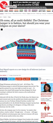 The independent online article on the british christmas jumper's multicultural christmas sweater
