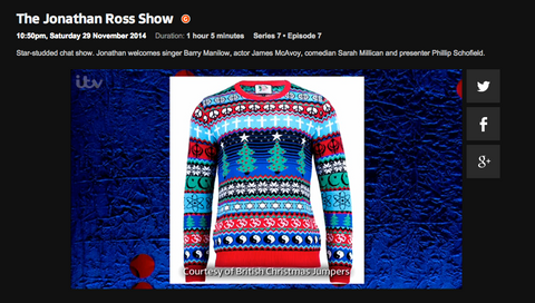 The Johnathon Ross show featuring the british christmas multicultural jumper