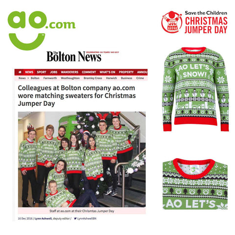 Corporate custom Christmas jumper day marketing campaign AO.com Bolton news