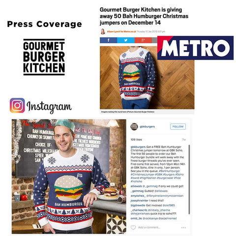 Gourmet burger kitchen Christmas jumper 2016 press coverage bespoke Christmas jumper marketing campaign