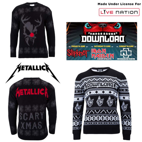 Live nation Download festival and  Metallica Christmas jumper, bespoke Christmas jumper