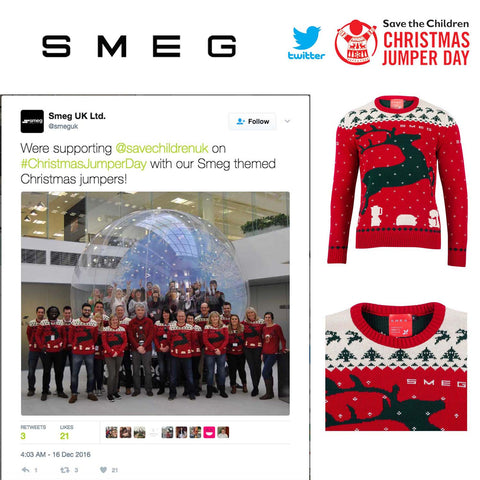 SMEG corporate workplace bespoke Christmas jumper day, twitter Christmas jumper marketing save the children christmas jumper day