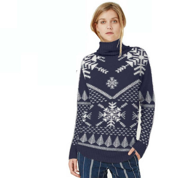 Snowflake Polo Neck  - Womens Christmas Jumper