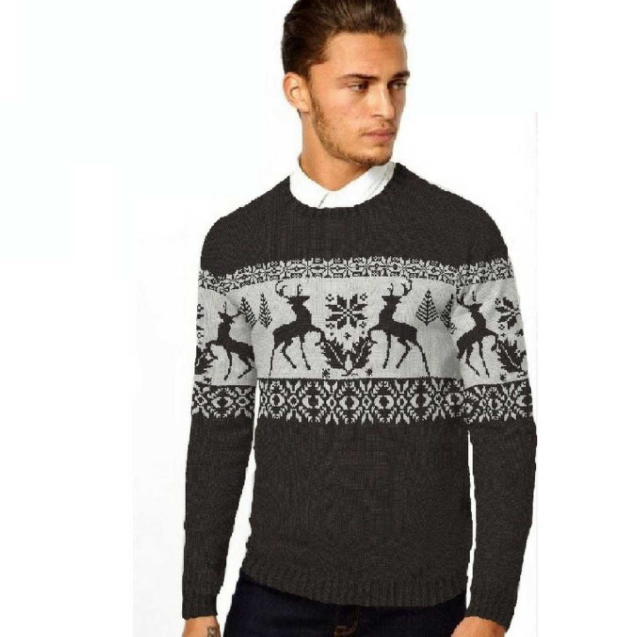 Stag Fairisle - Mens Christmas Jumper - British Christmas Jumpers