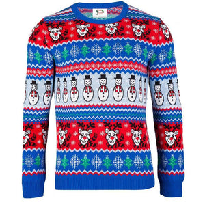 Blue Comic Xmas - Mens Christmas Jumper - British Christmas Jumpers