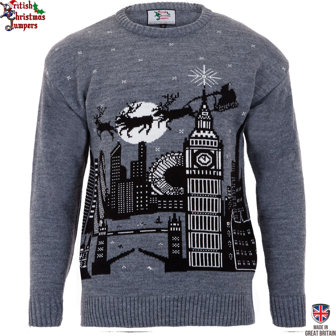 Christmas in London Mens Grey Christmas Jumper