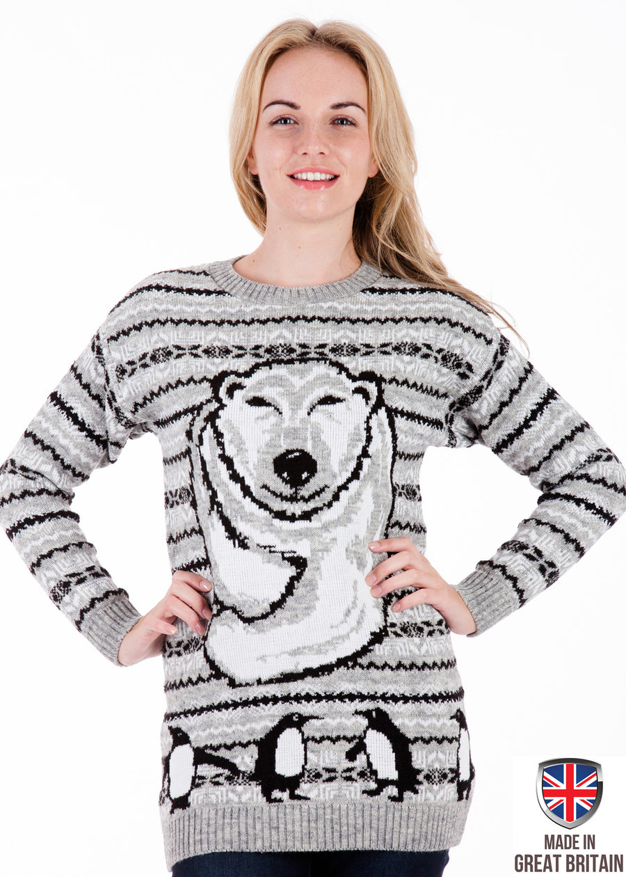 Polar Bear Xmas - Womens Christmas Jumper Dress - British Christmas Jumpers
