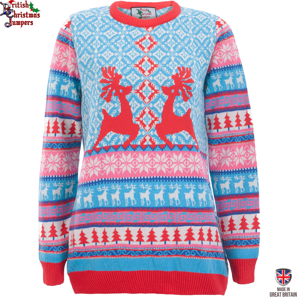 Dancing Stags - Womens Christmas Jumper | British Christmas Jumpers