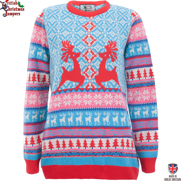Dancing Stags - Womens Christmas Jumper - British Christmas Jumpers
