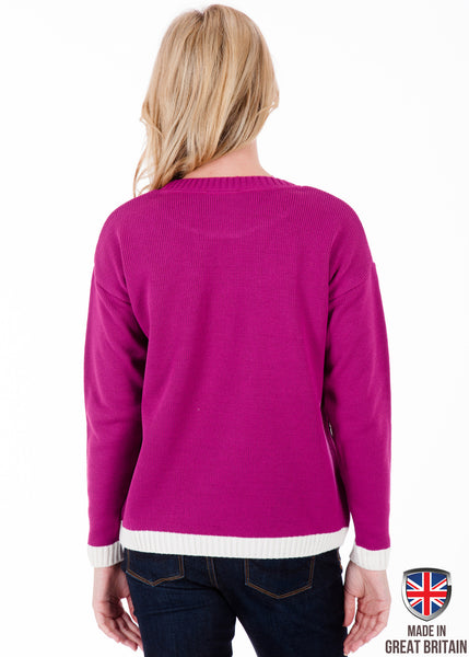 Christmas in London - Edition II - Cerise Pink - Womens Christmas Jumper - British Christmas Jumpers