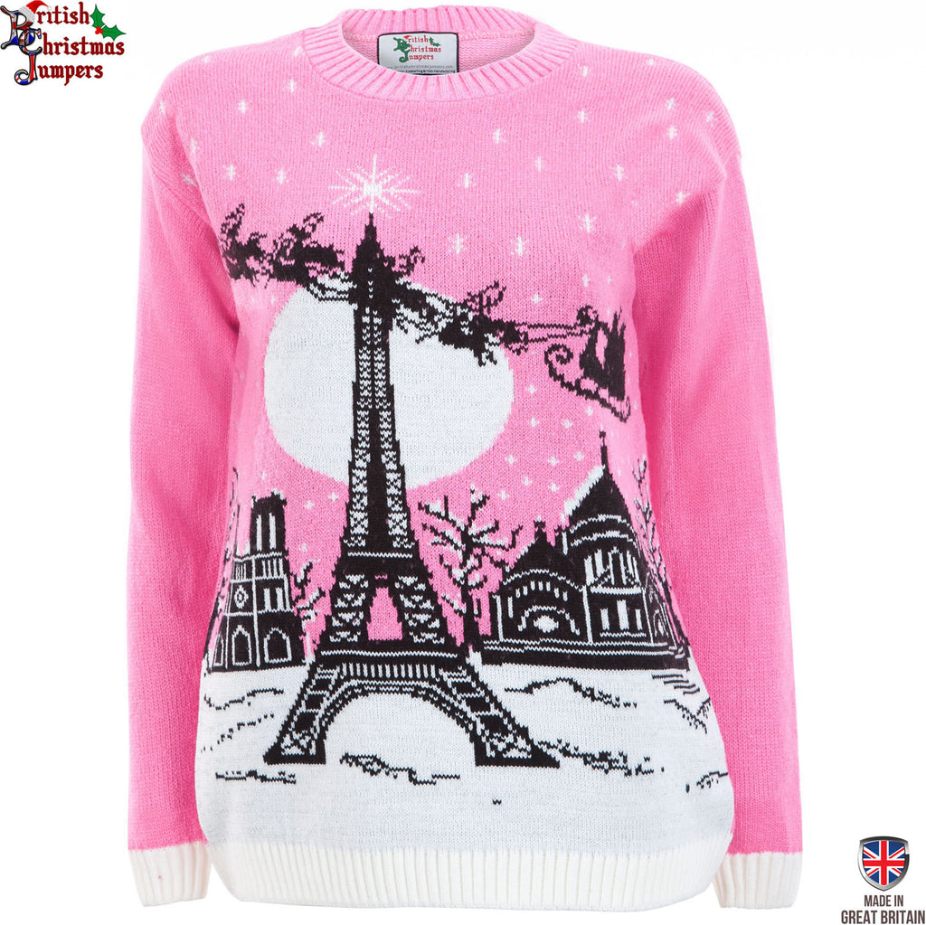 Christmas in Paris - Womens Pink Christmas Sweater | British ...