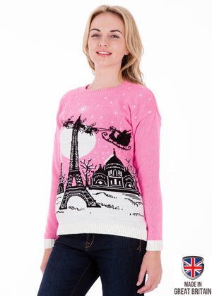 Womens Pink Christmas In Paris Jumper