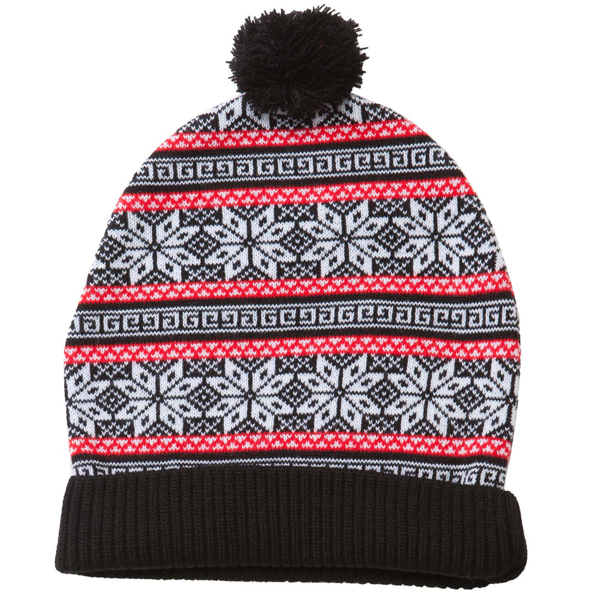 Black and red striped snowflake Christmas beanie