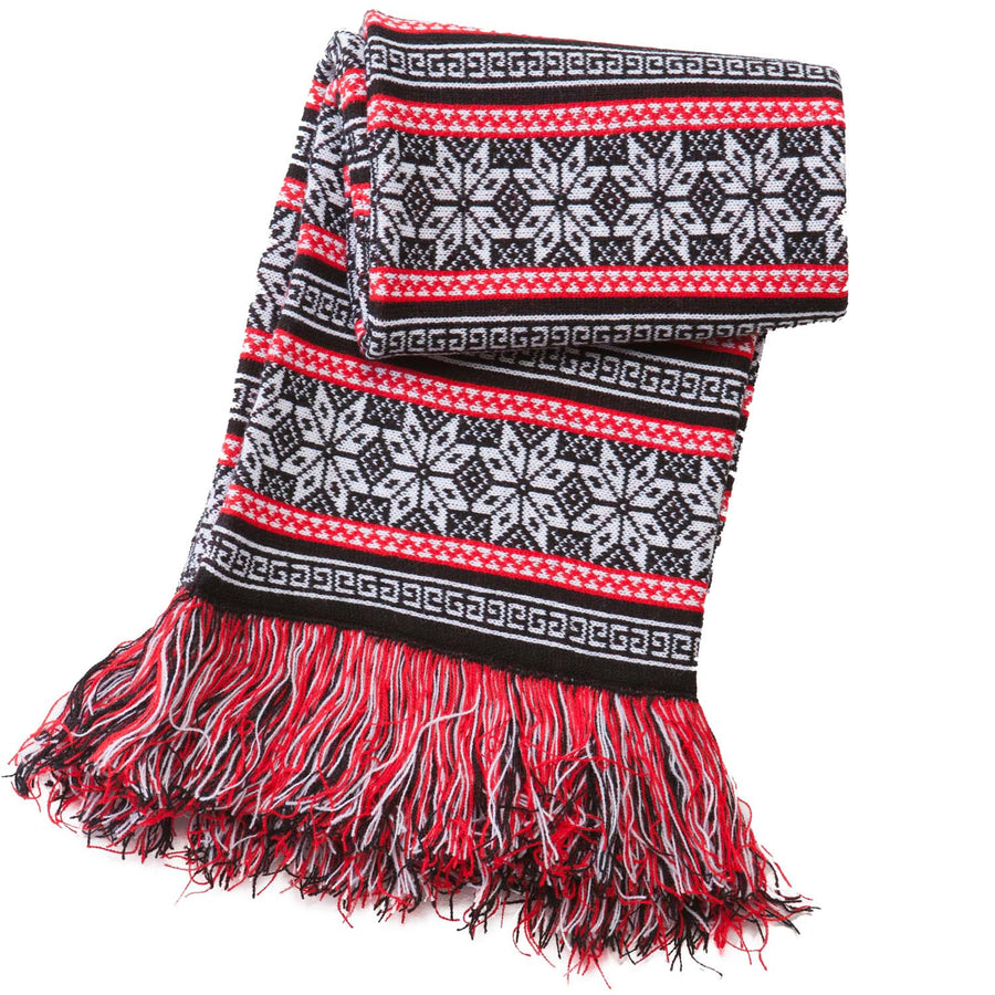 Black and red striped snowflake xmas winter scarf
