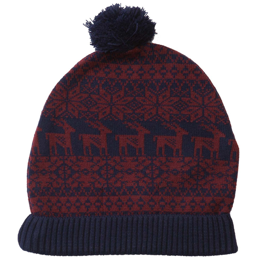 Brown and navy Nordic Christmas bobble hat