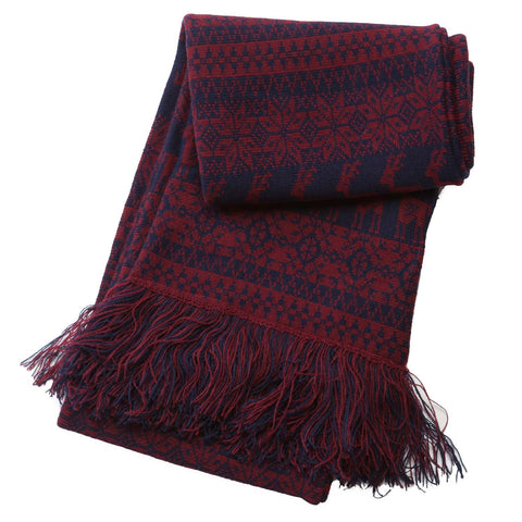 Brown / Navy Deer Xmas Scarf