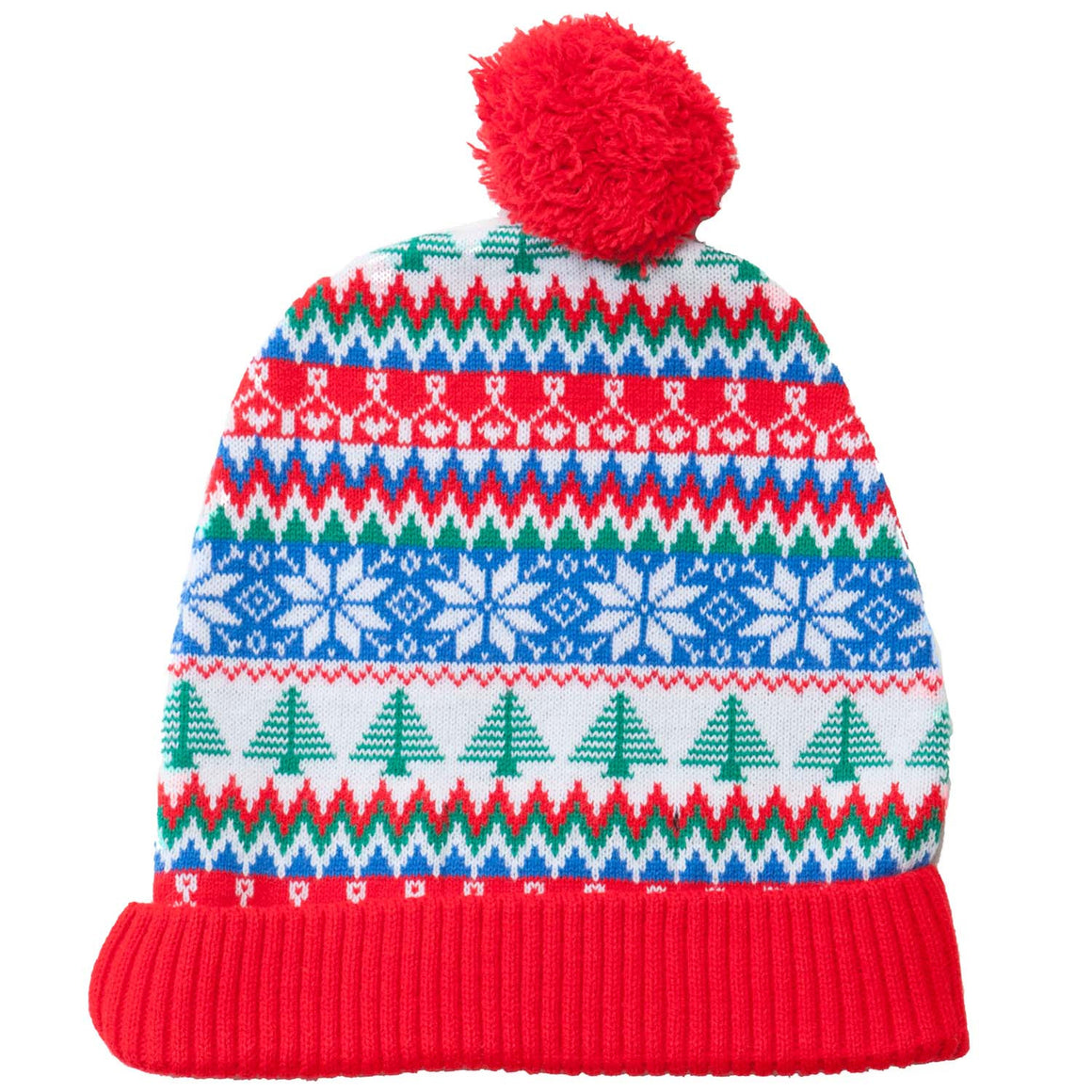 Red and green Xmas tree beanie bobble winter hat
