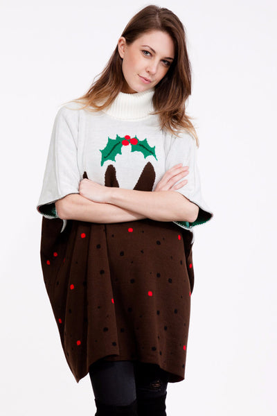 Christmas Pudding Poncho - British Christmas Jumpers
