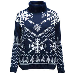 Snowflake Polo Neck  - Womens Christmas Jumper - British Christmas Jumpers