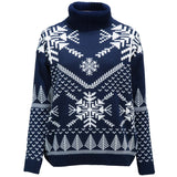 navy nordic women's polo neck Christmas jumper