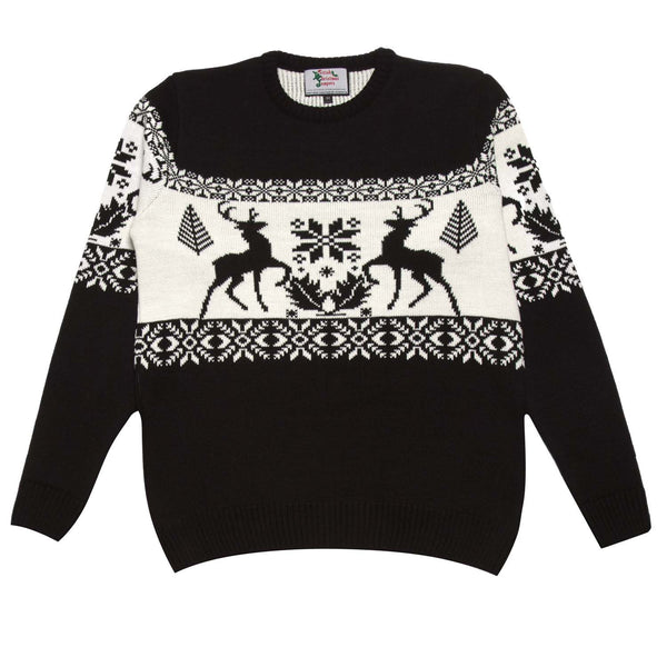 Men's black stag Christmas sweater