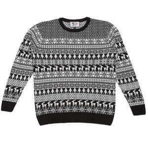 Men's black and cream striped deer Christmas jumper