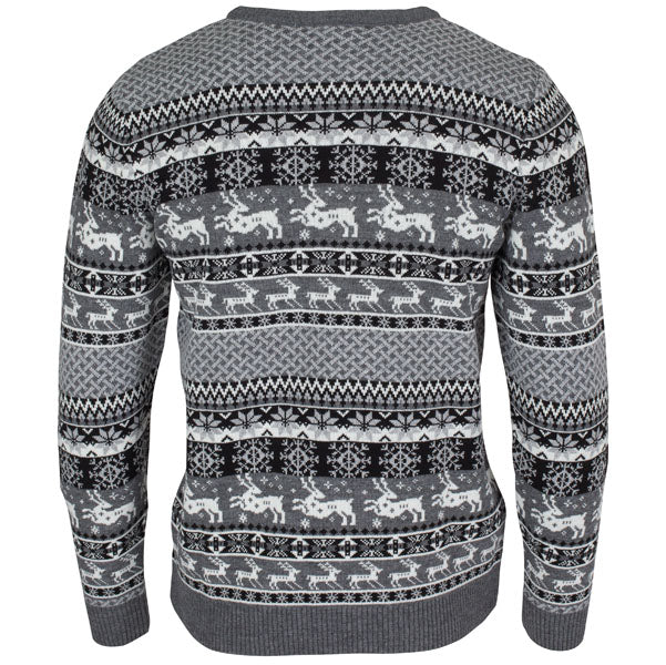 Mens Christmas Jumper Fairisle Dark Charcoal