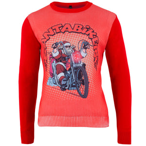 CYBER WEEKEND SPECIAL - Santa Biker - Printed Knitted Mens Jumper