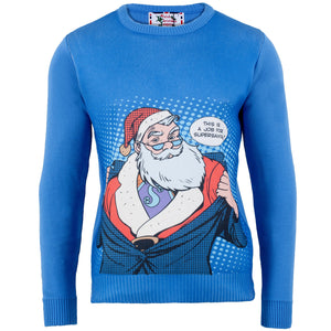 Super Santa - Printed Knitted Mens Jumper