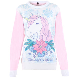 CYBER WEEKEND SPECIAL - Cute Unicorn - Printed Knitted Ladies Jumper
