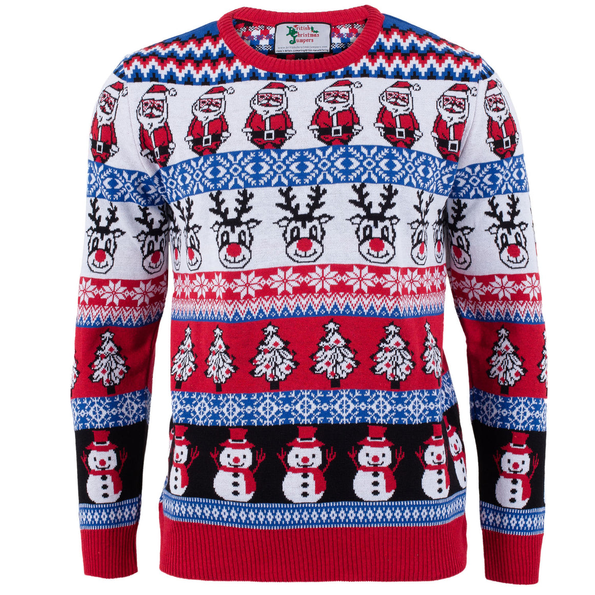 Comic Xmas Blue Mens British Christmas Jumper British