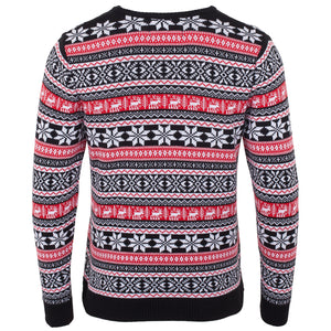 Mens Red Deer Fairisle Eco Christmas Jumper