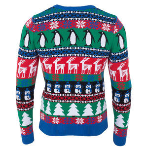 Comic Penguin Xmas Mens Eco Christmas Jumper