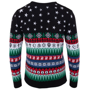 Black Peace On Earth Mens Eco Christmas Jumper