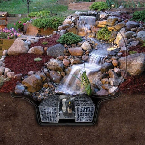 "Pro-Series Just-A-Falls Kit w/ Standard Res-Cubes 34"" Spillway (11' Stream)"