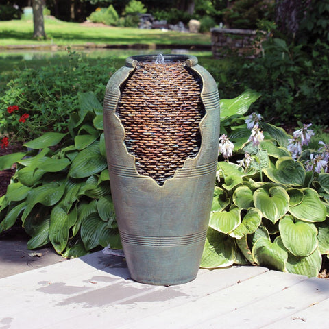 "Self Contained ""Cracked"" Vase Resin Fountain"