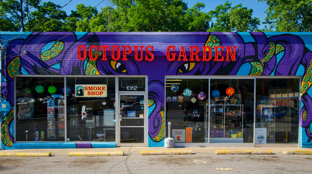 An Image of the Front of the Octopus Garden Smokeshop on Patton Ave in Asheville, NC