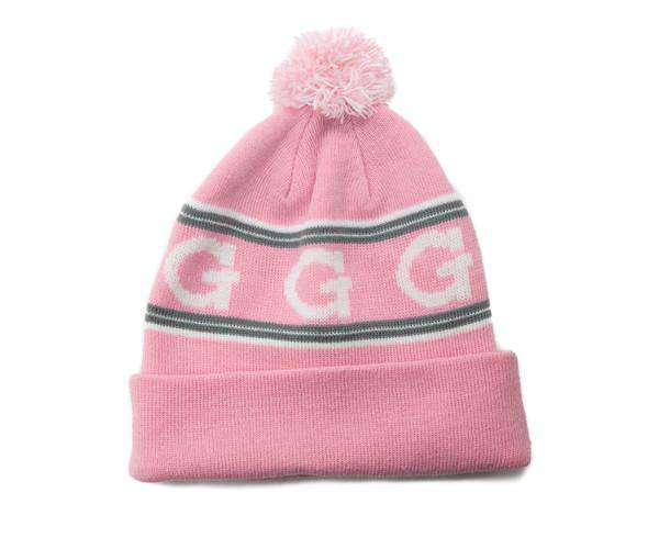 G Pom Pom Beanie - Pink (G Pom Pom Beanie - Pink) G Pom Pom Beanie, available in Pinkwith White and Gray accents.